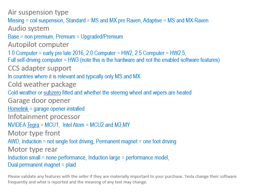 Tesla additional information options listed