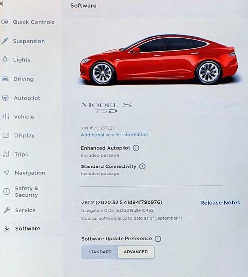Tesla with Enhanced Autopilot software