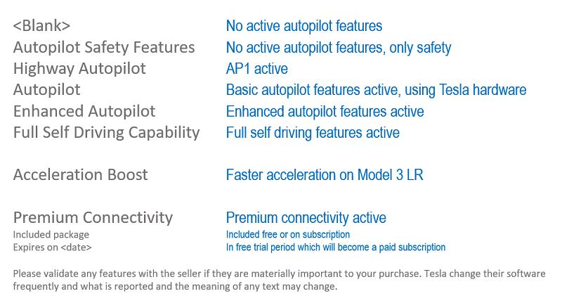 Tesla software options listed