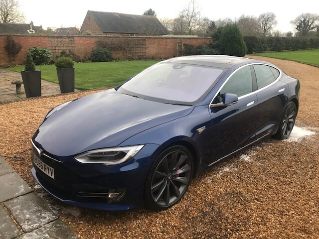A freshly cleaned Tesla